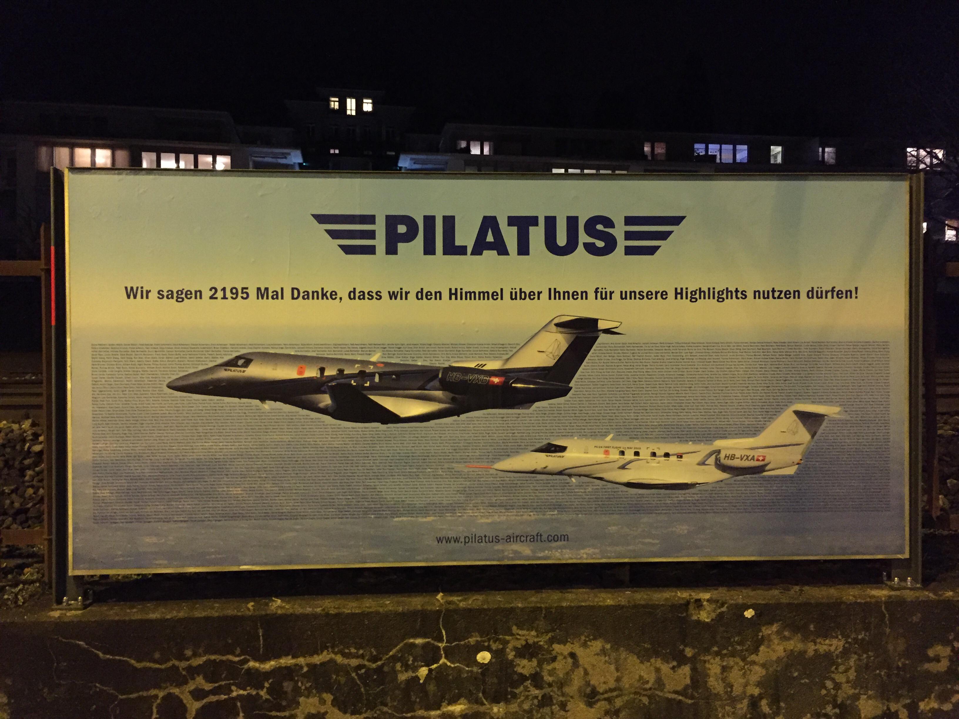 Ein Beispiel für Aussenwerbung im B2B Marketing - heute Pilatus Aircraft