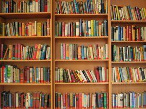 Foto mit Bücherregal
