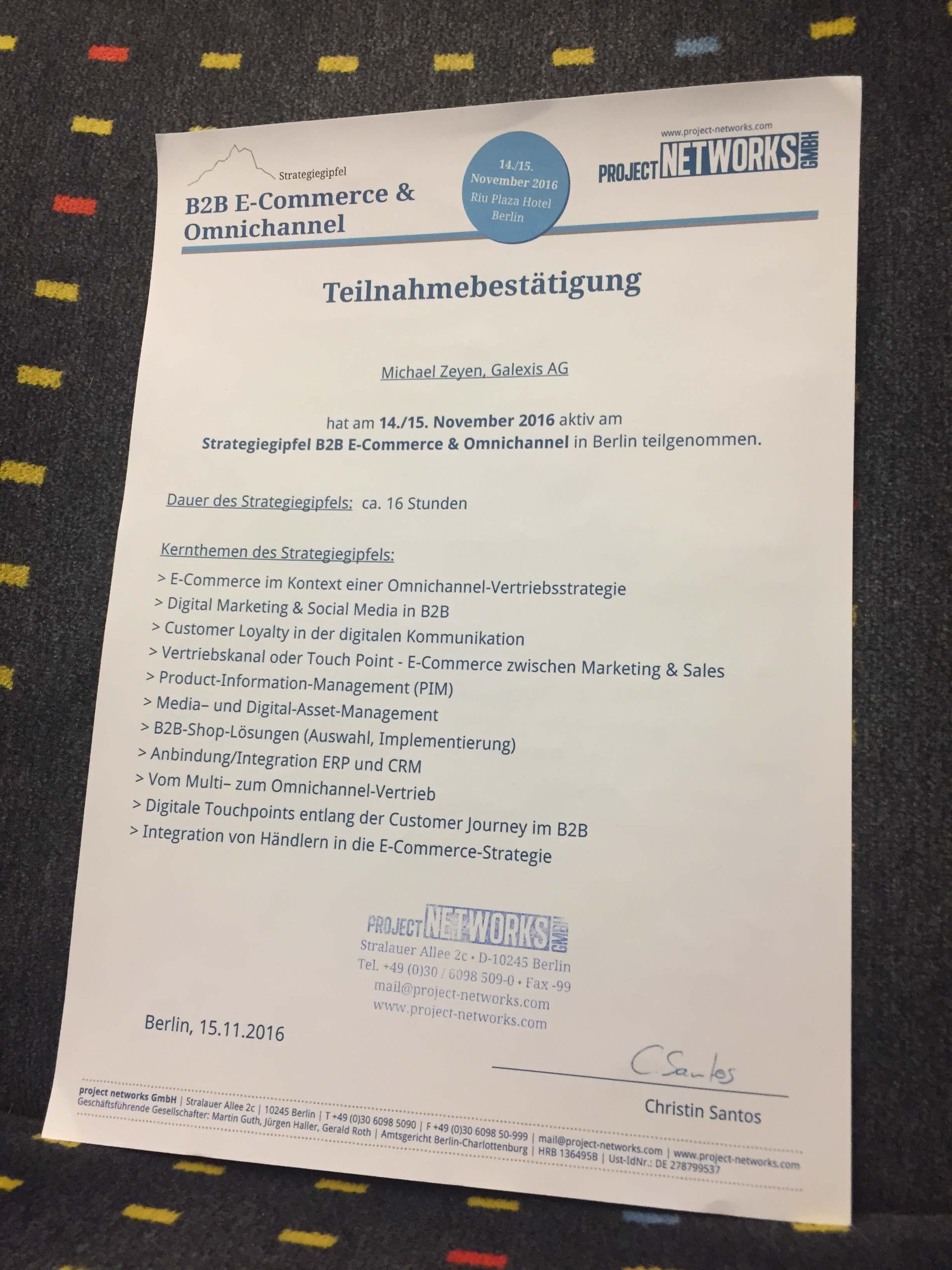 Teilnahmebestätigung Strategiegipfel B2B E-Commerce 2016