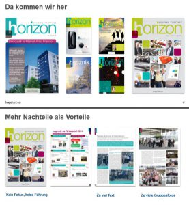 Unterschiedliche Versionen horizon Magazin Hager Group