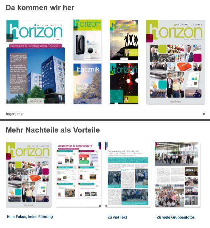 Zusammenstellung der unterschiedlichen Versionen von horizon, Mitarbeitermagazin der Hager Group