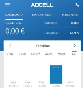 Screenshot der Adcell App